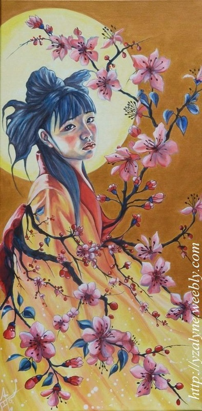 &quot; Kimon-Blossom&quot;<br/><span>Acrylic on canvas, 19x39 in .</span>
