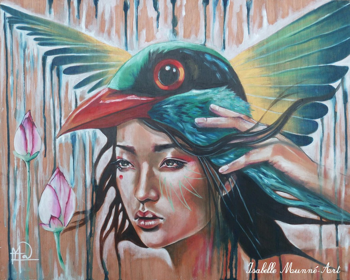 &quot;Bird of the rain&quot;<br/><span>Oil on wood, 15x19 in</span>